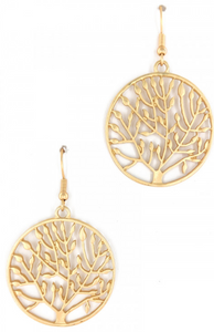 MATTE GOLD TREE OF LIFE FASHION EARRINGS