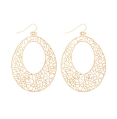 FILIGREE OPEN CIRCLE DROP EARRINGS-MATTE GOLD