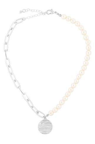 TEXTURED PENDANT HALF CHAIN HALF PEARL NECKLACE-SILVER