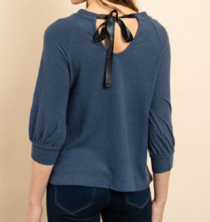 Navy Top with Back Ribbon Tie