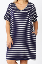 Load image into Gallery viewer, STRIPE ROLLED SHORT SLEEVE V-NECK DRESS- Navy/Ivory