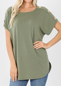 BUTTON SHOULDER TOP - Lt. Olive