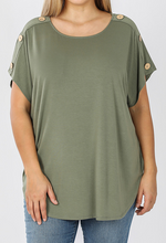 Load image into Gallery viewer, BUTTON SHOULDER TOP - Lt. Olive