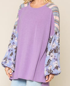 Lavender Stripe Floral Mixed Top