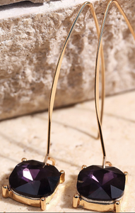 Shimmering faceted glass squoval stone dangle earring- Purple