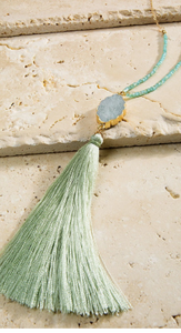 Natural stone tassel pendant long necklace with matching hook earrings. Mint