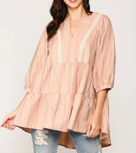 Striped Tiered Ruffle Top- Peach