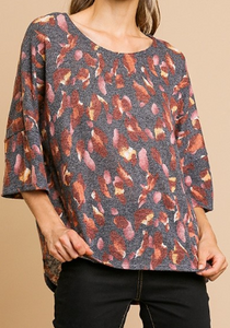 3/4 Sleeve Floral Print Round Neck Top with High Low Hem - Charcoal Mix