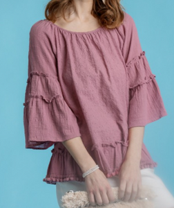 Floral Lace Bell Sleeve Ruffle Top