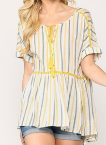 Yellow Striped Short Sleeve Tunic Top