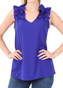 RUFFLE TRIM SLEEVELESS TOP
