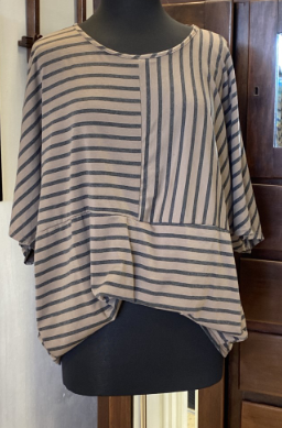 CURVY Brown Stripe Top
