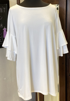White Ruffle Sleeve Top -CURVY