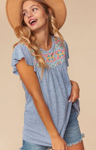 ONLINE EXCLUSIVE! Chambray Boho Top