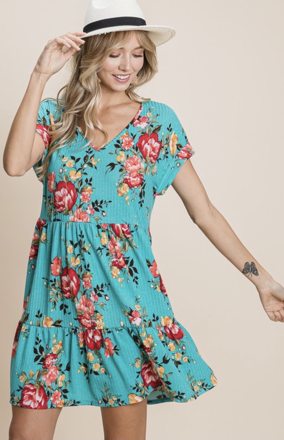 ONLINE EXCLUSIVE! Alana Turquoise Floral Dress
