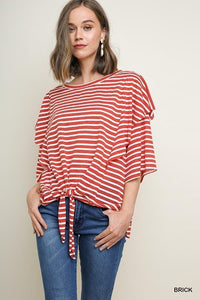 Umgee Front Knot Red & White Striped Shirt