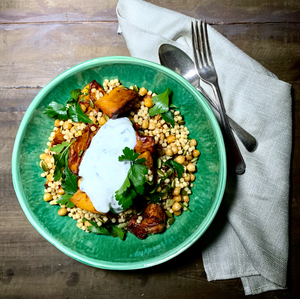 Salad - Moroccan Chickpea, Roast Pumpkin and Cous Cous with Minted Yoghurt and Toasted Pepitas