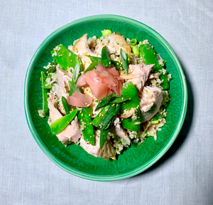 Salmon - Asian Brown Rice Salad with Seared Salmon, Pink Ginger, Edamame Beans, Snow Peas, Spring Onion and Roasted Sesame Dressing