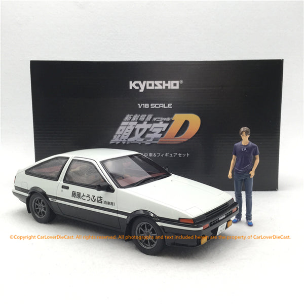 Kyosho 1:18  Initial D Toyota Sprinter Trueno AE 86 with Takumi Fujiwara figure ( KSR18D01-B) resin car model with Figure available now