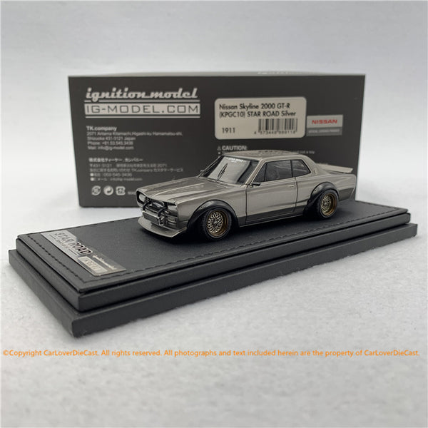 ignition Model 1:43 Nissan Skyline 2000 GT-R (KPGC10)STAR ROAD (Silver) resin car model  (sealed) IG1911