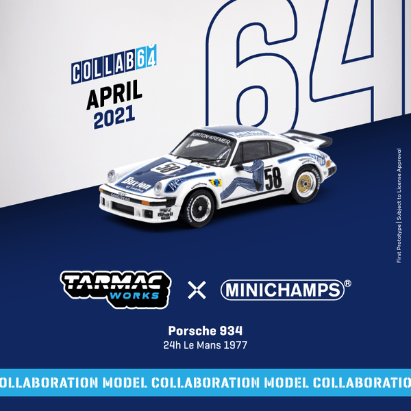 Tarmac Works 1:64  Porsche 934  24h Le Mans 1977 #58 (T64MC-003-BUR) Diecast car model available on JAN 2021 pre-order now
