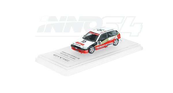 "Inno Models 1:64 HONDA CIVIC EF3 Gr.A #16 ""MUGEN MOTUL"" JTC 1988 diecast model (IN64-EF3-MOT88) with display cover and base available on end of June pre-order now"