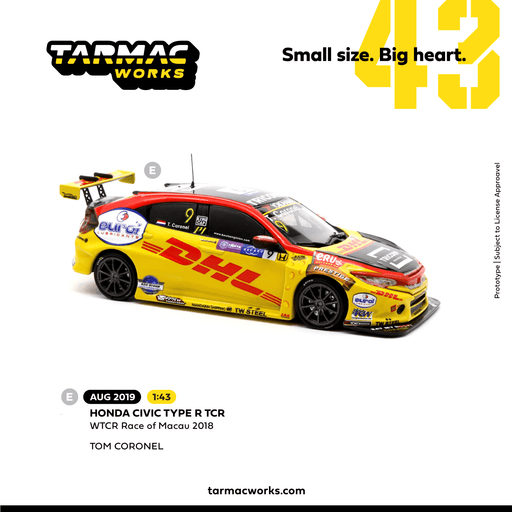 Tarmac Works 1:43 Honda Civic Type R TCR  WTCR Race of Macau 018 #9 Tom Coronel (T43-010-18WTCR09) diecast car model available on Aug 2019 pre-order now