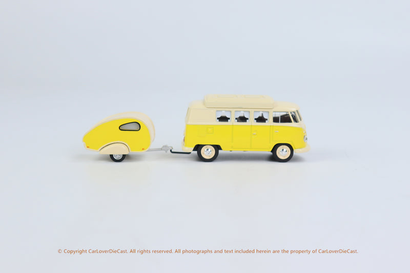 Schuco 1/64 Volkswagen T1 Camper with trailer  ** NEW ROOF FEATURE  FOR 2021 **(452026700) Diecast Car Model available now