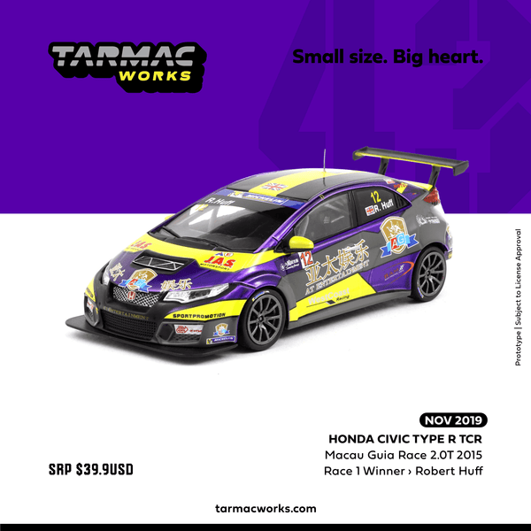 Tarmac Works 1:43 Honda Civic Type R TCR Macau Guia Race 2.0T 2015 Robert Huff (T43-007-15MGR12) diecast voiture model available on Nov 2019 pre-order item