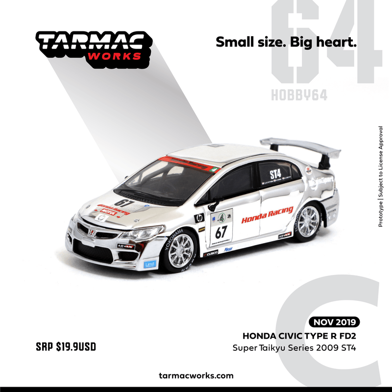 Tarmac Works 1:64 Honda Civic Type R FD2      Super Taikyu Series 2009  ST4 内山・大村・野間 diecast car model (T64-018-09ST67) available on NOV 2019 pre-order item