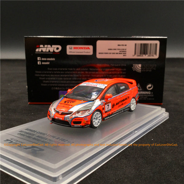Inno Modèle 1:64 HONDA CIVIC Type-R FD2 # 7 AUTOBACS Mugen Power cup Civic ONE Make Race 2012 Diecast (IN64-FD2-AB) disponible maintenant