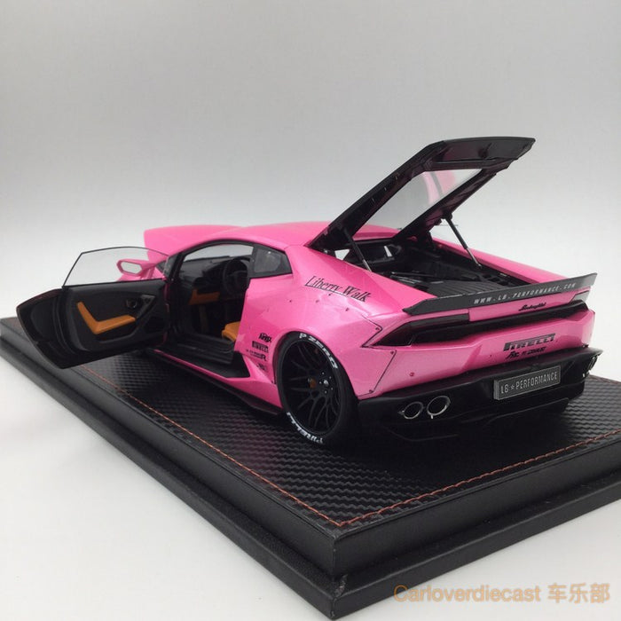 (ACM) Huracan LB Works Diecast Scale 1:18 (Candy Pink in bronw rims) custom made by order lead time 2 weeks