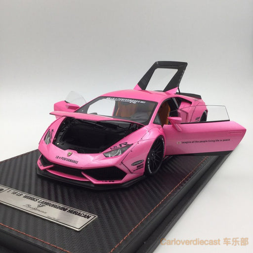(ACM) Huracan LB Works Diecast Scale 1:18 (Candy Pink in black rims) custom made by order lead time 2 weeks
