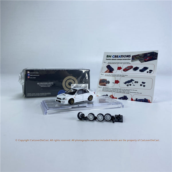BM Creations 1:64 Subaru 2001 Impreza WRX  White LHD/RHD (64B0082/64B0083) Diecast Car Model