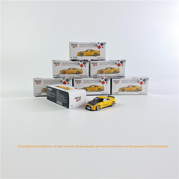 Mini GT 1:64 Pandem Nissan GT-R R35  Duck Tail Metallic Yellow w/ Carbon (MGT00124) L/RHD diecast car model available now