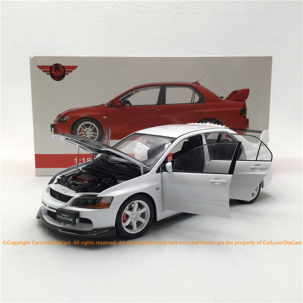 Super A 1:18 Mitsubishi Lancer EVO IX  diecast Full Open (White with carbon look Bonnet) available  now