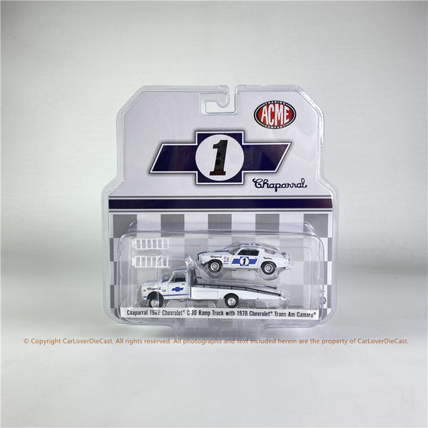 ACME 1:64  Chaparral - 1967 Chevrolet C-30 Ramp Truck with #1 1970 Chevrolet Trans Am Camaro  (51344 ) Diecast car model
