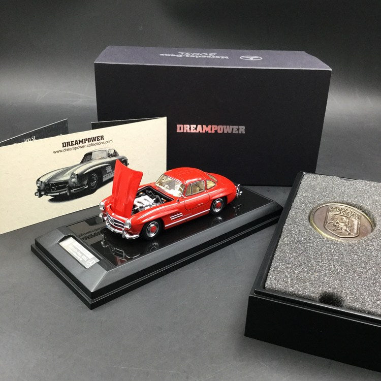 DreamPower 1:43 Mercedes 300SL resin Model (bonnet openable ) F-SL-01RE limited 199pcs comes with display case & base , collectible coin & certificate (Red) available now