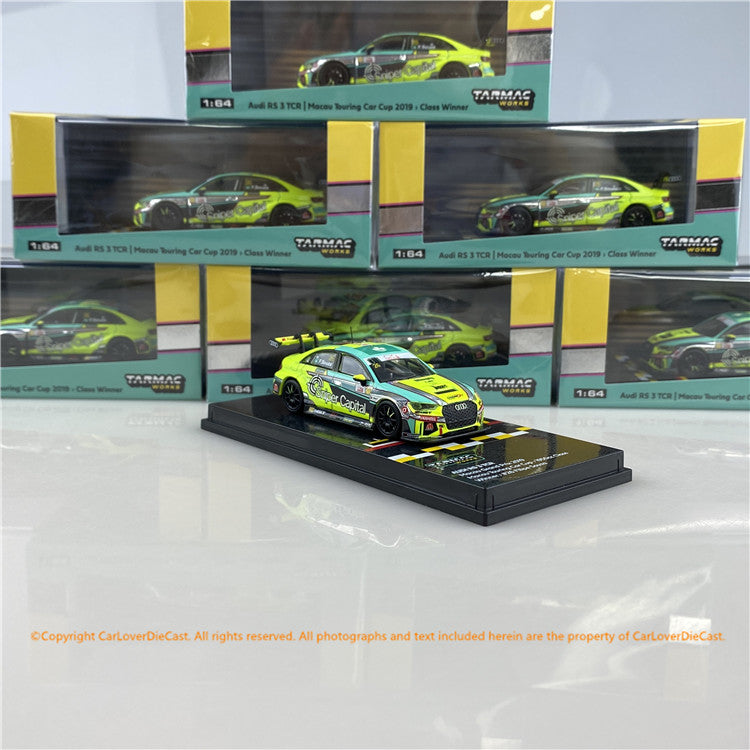Tarmac Works 1:64 Audi RS 3 TCR Macau Touring Car Cup 2019 - 1950cc Class Winner Filipe Souza (T64-013-19MGP26) diecast car model available