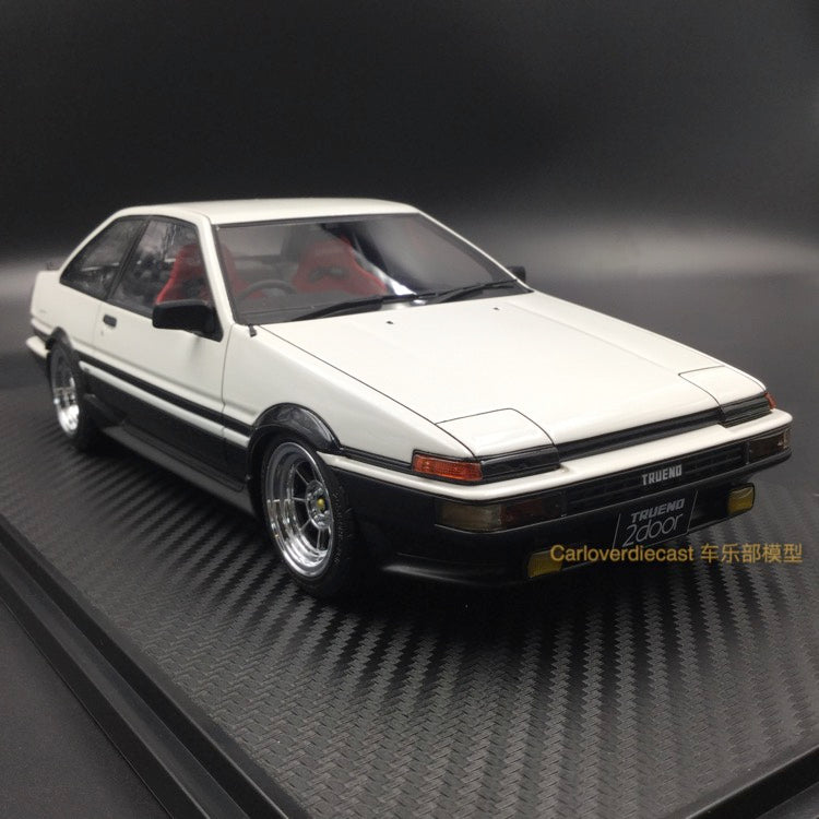 Ignition Model Toyota Sprinter Trueno (AE86) 2Door GT Apex White/Black (H-Wheel) resin Scale 1:18 (IG0548) free display cover