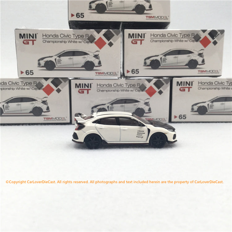 MINI GT 1:64 Honda Civic Type R (FK8)  Championship white w/ Carbon Kit & TE37 Wheel  (L/RHD) diecast car model MGT00065-L/R