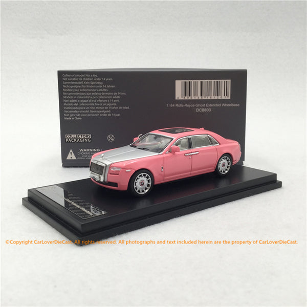 DC 1:64 Rolls Royce Ghost extended wheel based diecast model (Pink Silver) DC8803 available now