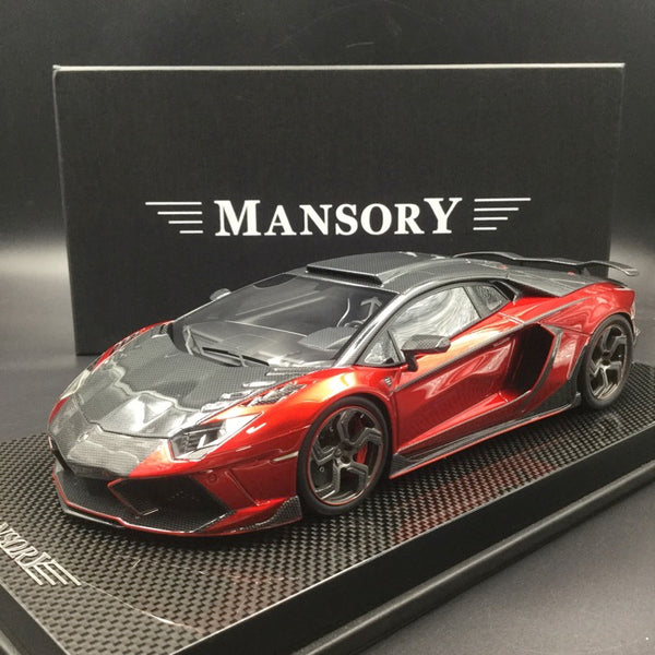 Mansory 1:18 Carbonado Pearl red with carbon look  with carbon base and display cover limited 30 pcs  (AC06)