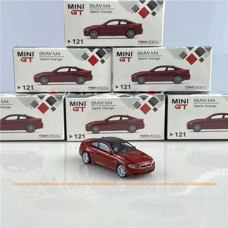 Mini GT 1:64  BMW M4 (F82) Sakhir Orange (MGT00121-R/L) RHD/LHD diecast car model