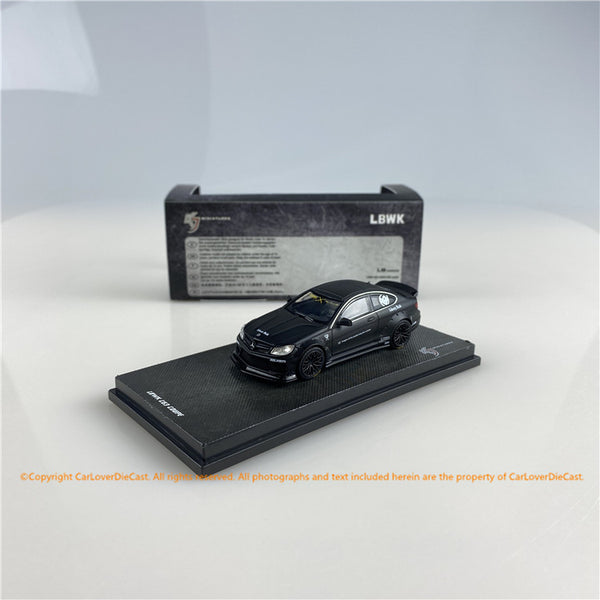 KJ Miniatures 1:64 LBWK Mercedes-Benz C63 Coupe (Mat Black) (KJ003-1)KJ64001BK diecast car model available now