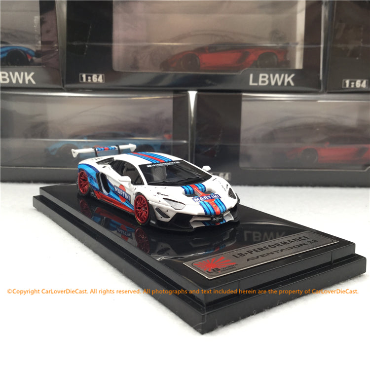 LBWK 1:64 LB works Aventador 2.0 Martini (J64-001-LB-MT) with Kato's San Figure available now
