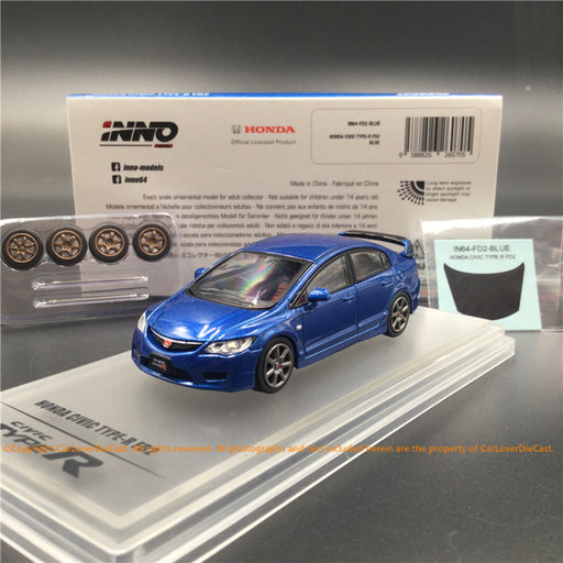 INNO 1:64 Honda Civic Type-R FD2 2007   (Blue) diecast car model (IN64-FD2-Blue)