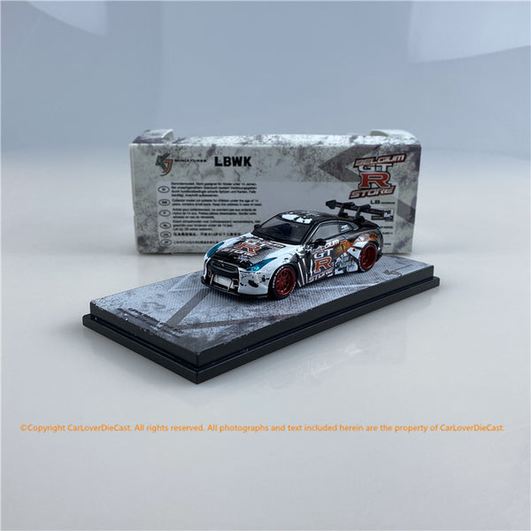 KJ Miniatures 1:64 LBWK Nissan GT-R R35 Belgium GTR store edition (KJ001-1)KJ64002BG (Belgium GTR Store)  Godzilla   diecast car model available  now