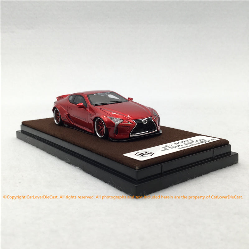 JEC 1:64 LB Works LC500 Wide body (Metallic Red ) free with Traveller Car Top Case (J64-006-MR) Resin car model