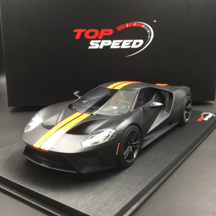 TopSpeed - Ford GT(Mat Black with orange stripe) Resin Scale 1:18 TS0092 available now
